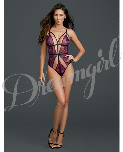 Strappy Lace Teddy Sparkling Grape O-s