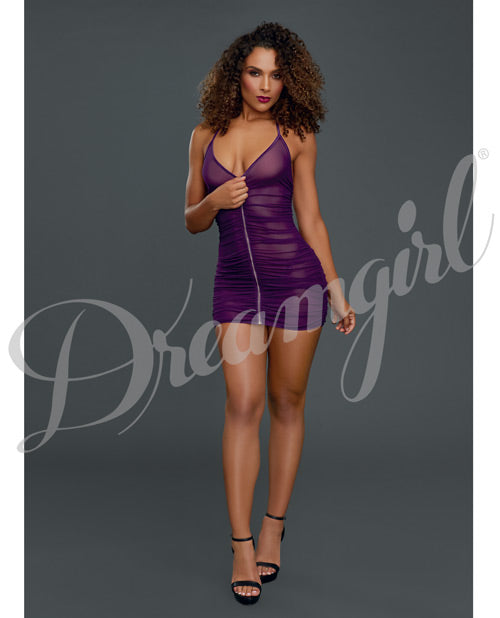 Ruched Sheer Front Zipper Chemise W-g-string Plum O-s