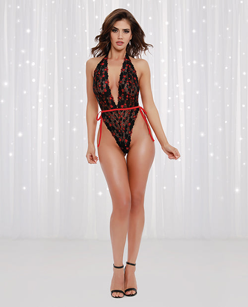 Heart Jacquard Plunging Stretch Lace Teddy Black-red O-s