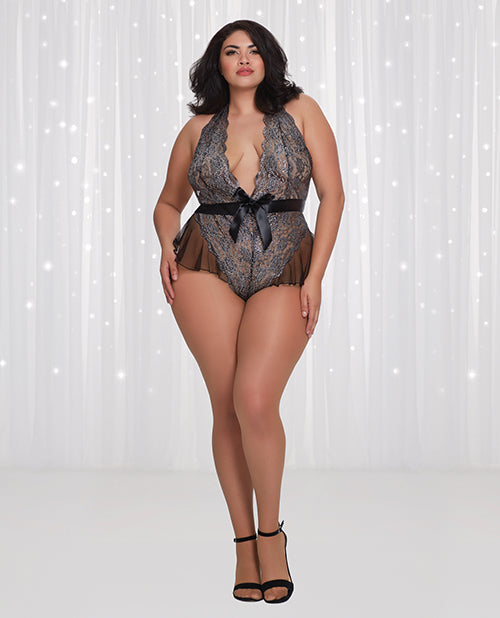 Metallic Printed Scalloped Stretch Lace Teddy Metallic Black