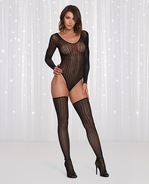 Seamless Sweater Knit Teddy W-long Sleeves & Thigh Highs Black O-s