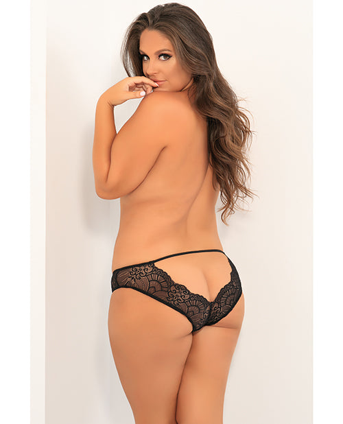 Attention Seeker Open Back Panty Black 1x/2x