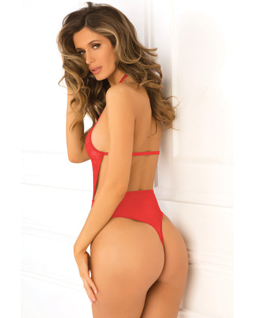 Rene Rofe Hot Pursuit Lace Bodysuit Red S/m