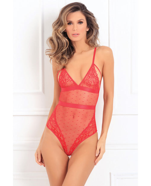 Rene Rofe X Marks The Spot Lace Teddy Red M/l