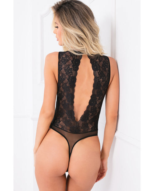 Rene Rofe Radiant Body Jewelry Bodysuit Black M/l