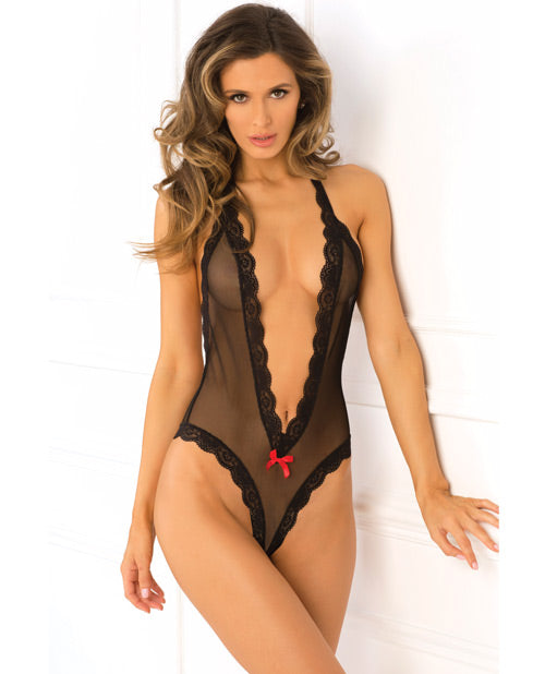 Rene Rofe Open Back Lace & Net Teddy Red M/l