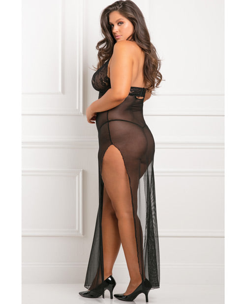 Rene Rofe All Out 2 Pc Gown Set Black 1x-2x