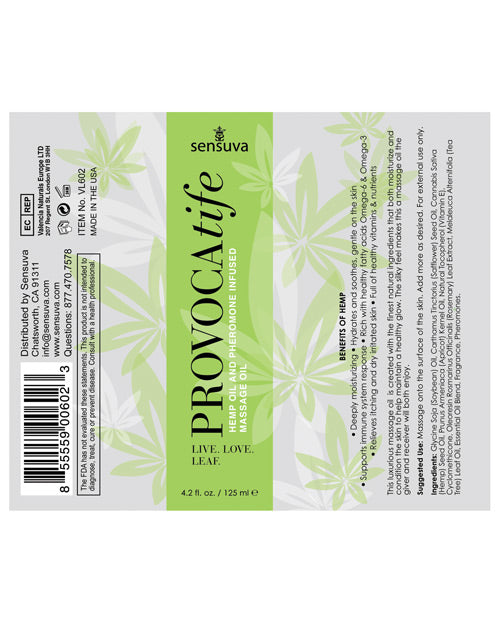 Provocatife Hemp Oil Massage Oil W-pheromones