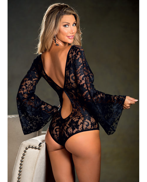 Stretch Lace Bodysuit W/long Bell Sleeves