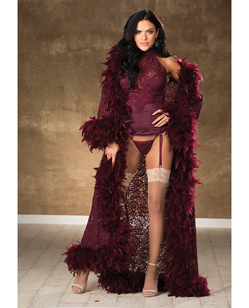 Long Marabou Trim Robe Burgundy