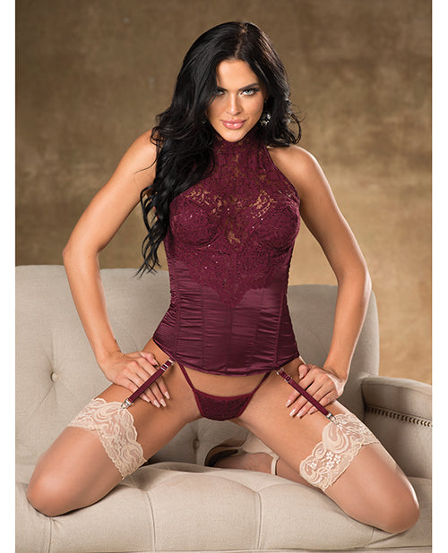 Lace & Satin Halter Corset W/adjustable Garters & G-string
