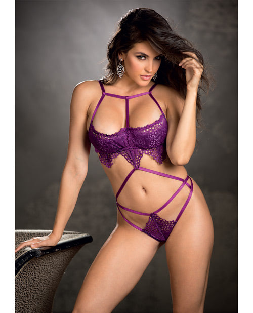 Stretch Lace & Strappy Elastic Teddy W/underwired Cups