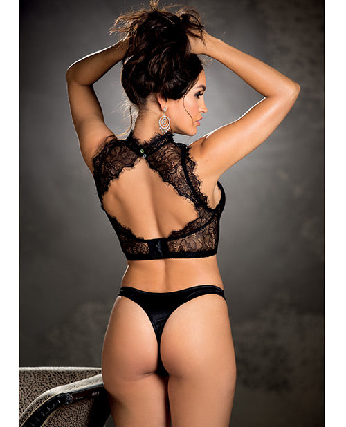 Eyelash Lace Crop Top W/under Wire Cups & High Neck Lace Detail (thong Not Included) Black