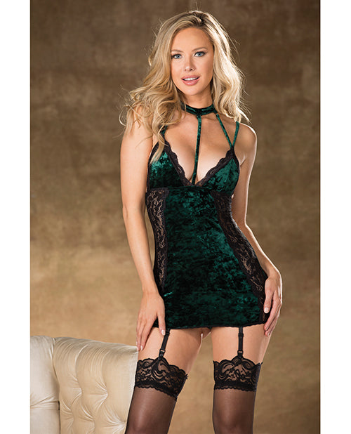 Velvet & Lace W/attached Harness Collar Emerald