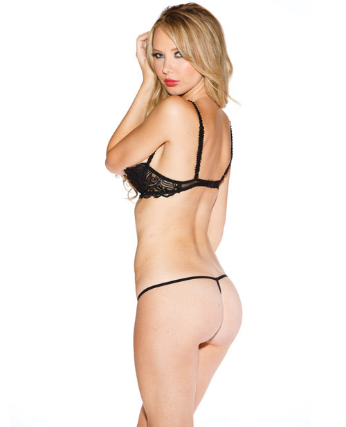 Chopper Bar Shelf Bra W/uplifting Cleavage, Adjustable Straps & Back Black 36