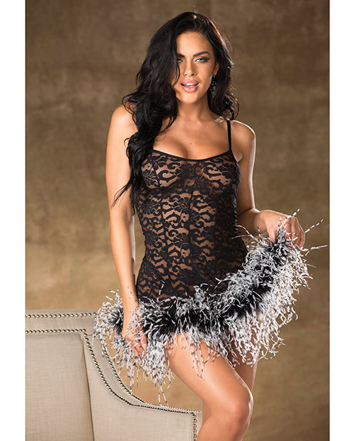 Lace Chemise W/marabou Trim Black/white