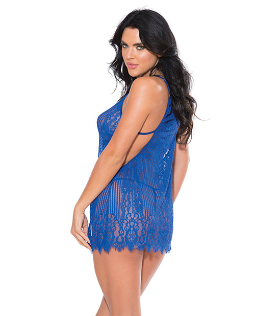 Shadow Strip Chemise W/g-string Royal