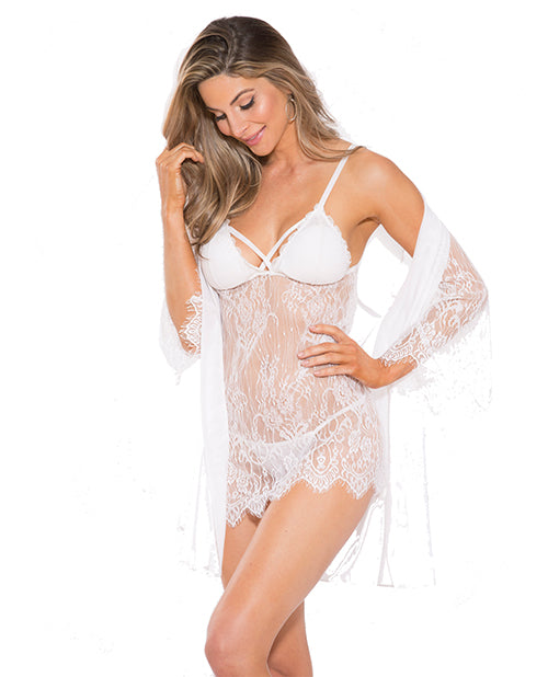Lace Peignoir Set W/bra & G-string White