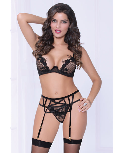 Netting Bra W/lace Applique, Strappy Garterbelt & Thong