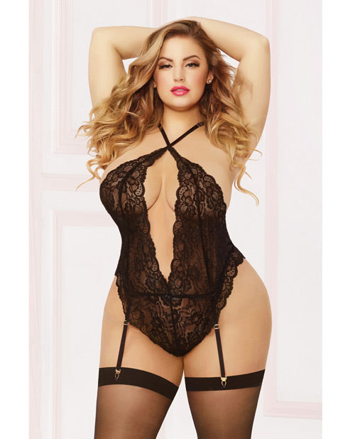 Galloon Lace Teddy W-adjustable Straps, Removable Garters, Snap Crotch & Thigh Highs Black Qn