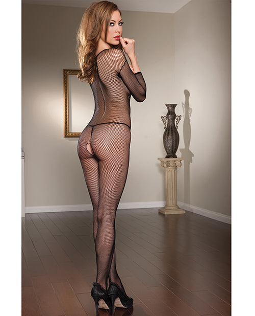 Long Sleeve Open Crotch Fishnet V-neck Bodystocking Black O-s