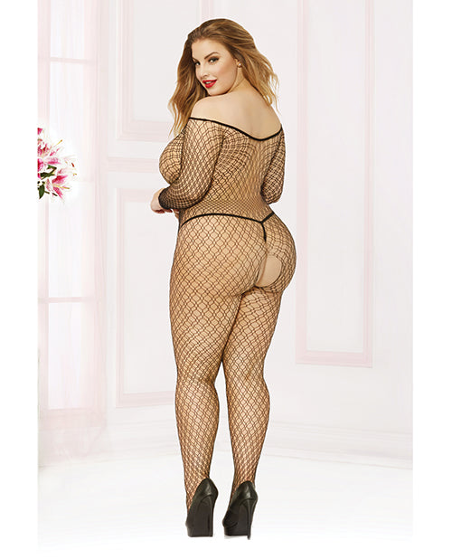 Seamless Fishnet Long Sleeve Off The Shoulder Open Crotch Bodystocking Black Qn