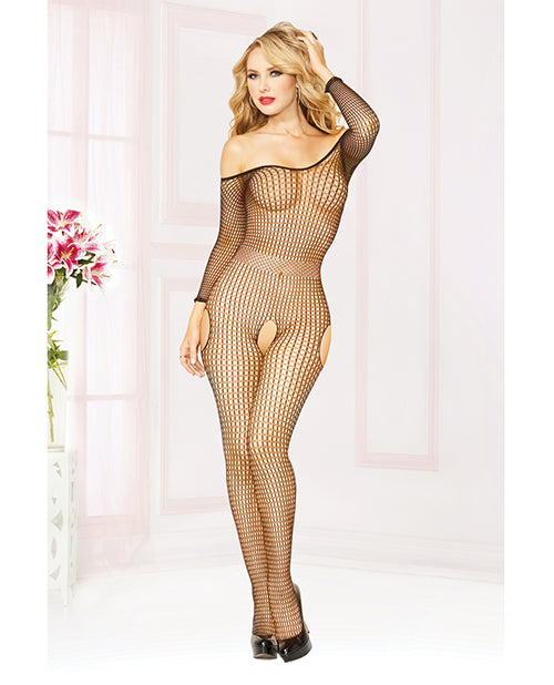 Seamless Fishnet Long Sleeve Off The Shoulder Open Crotch Bodystocking Black O-s