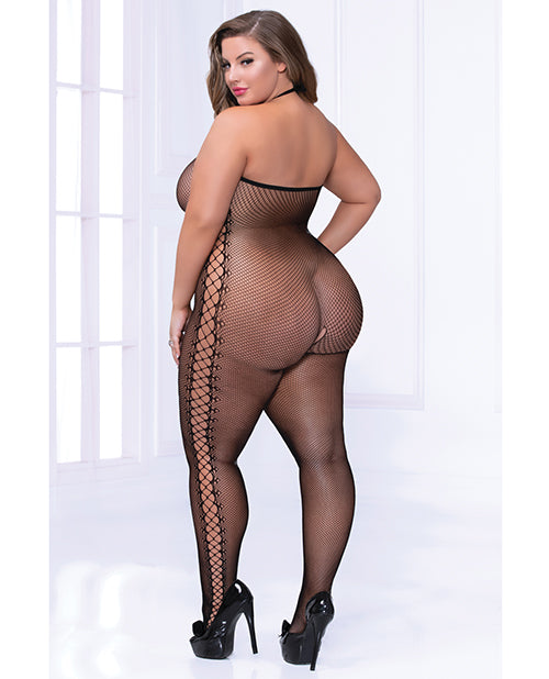 Cami Fishnet Bodystocking W-side Strappy Detail Black Qn