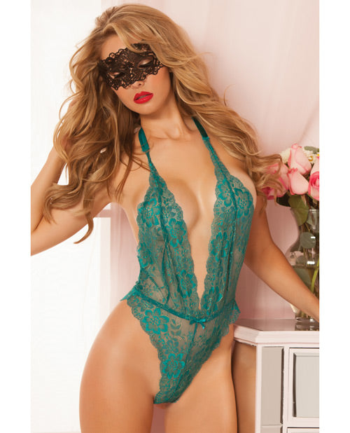 Floral Lace Teddy W/halter Satin Ribbon Ties & Snap Crotch Black O/s