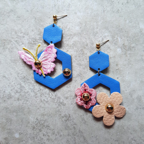 Butterfly Garden Asymmetrical Earrings (DUCHESS BLUE)