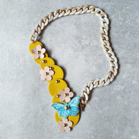 Butterfly Garden Asymmetrical Necklace (LEMON)