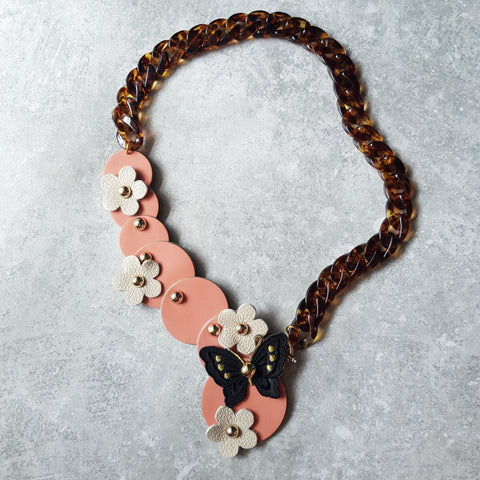 Butterfly Garden Asymmetrical Necklace (SALMON PINK)