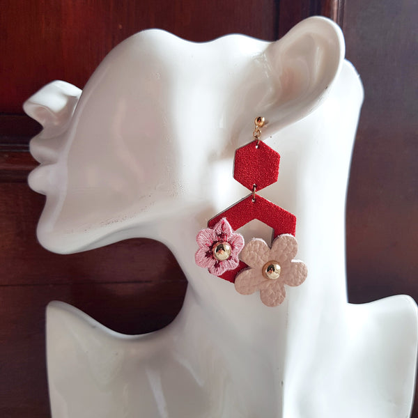Butterfly Garden Asymmetrical Earrings (RED)