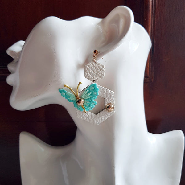 Butterfly Garden Asymmetrical Earrings (WHITE)
