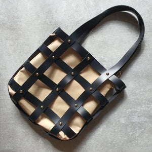 Leather Square Caged Tote (BLACK)