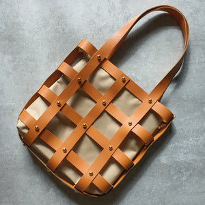 Leather Square Caged Tote (CAMEL)