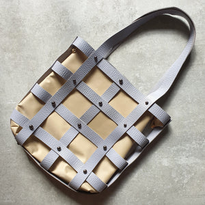 Leather Square Caged Tote (GRAY)