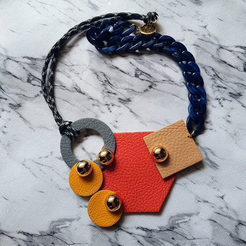 Double Chain Geometric Necklace (ORANGE)