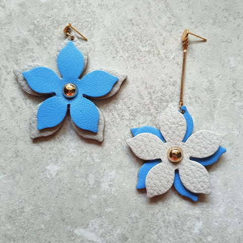 Floral Drop Asymmetrical Earrings (BLUE/GRAY)