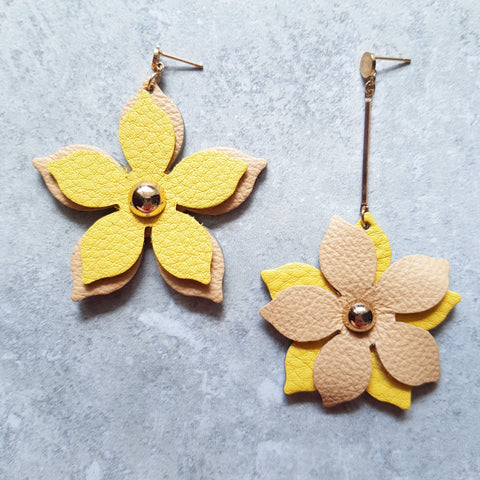 Floral Drop Asymmetrical Earrings (YELLOW/DARK NUDE)