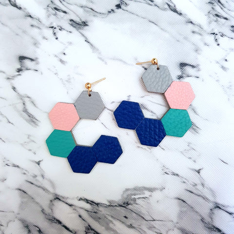 HexaLoop Earrings (COBALT)
