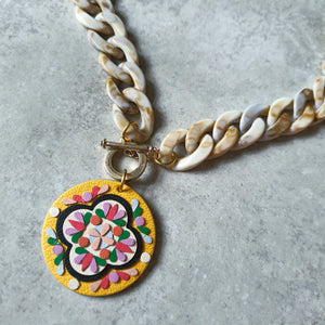 Medallion Peranakan Tile Necklace (LEMON)