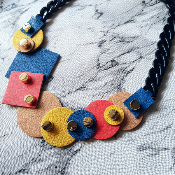 Mixed Geometric Shapes Necklace (COBALT)