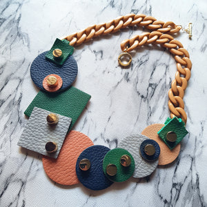 Mixed Geometric Shapes Necklace (FOREST)