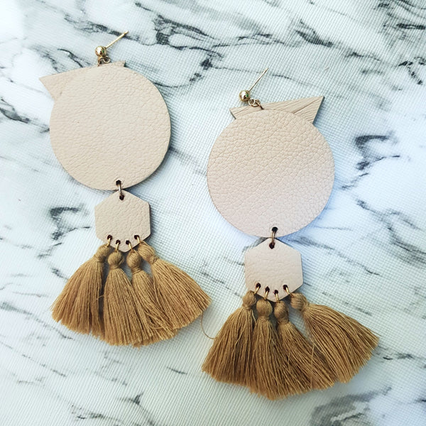 OVO Earrings with Tassels (CREAM)