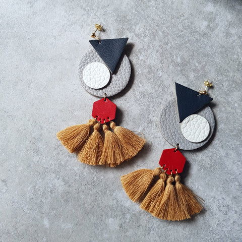 OVO Earrings with Tassels (GRAY)