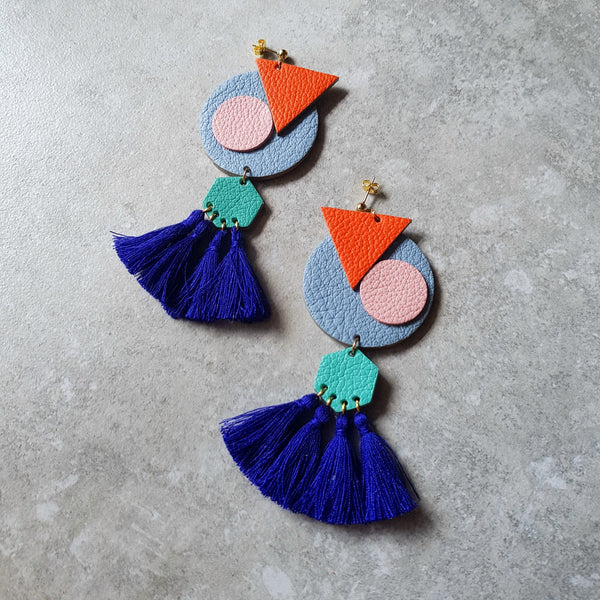 OVO Earrings with Tassels (LIGHT BLUE)