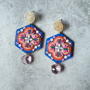 Peranakan Tile Earrings with Swarovski Drop (ROYAL BLUE)