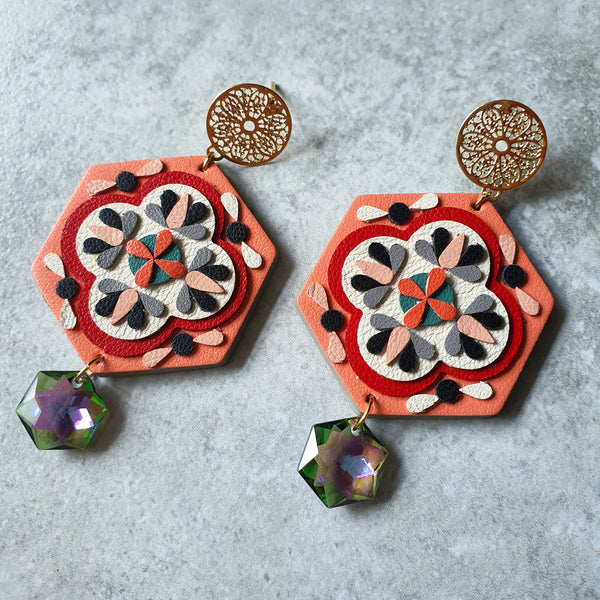 Peranakan Tile Earrings with Swarovski Drop (SALMON)