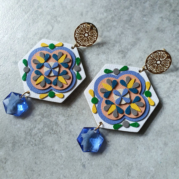 Peranakan Tile Earrings with Swarovski Drop (WHITE)